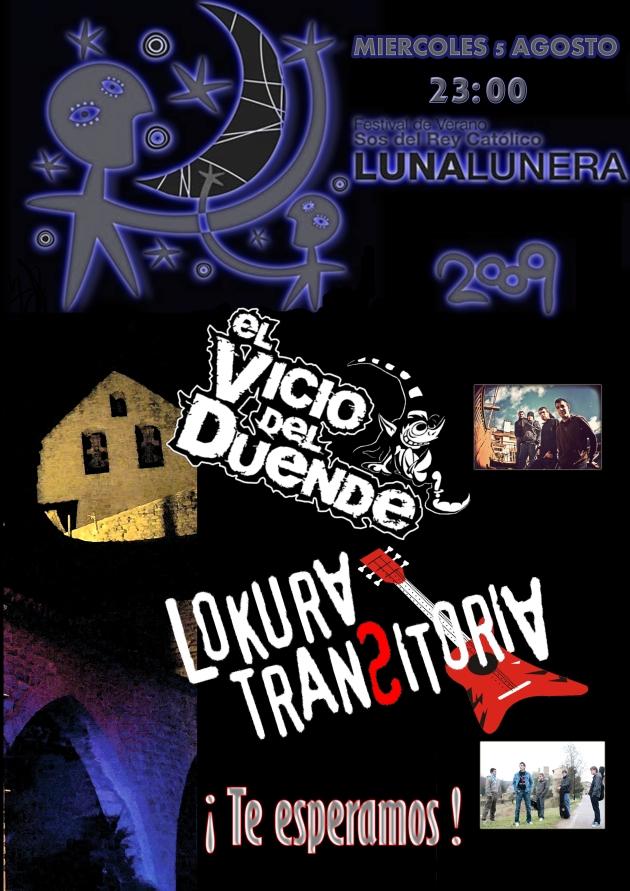 Cartel de Lokura Transitoria y El Vicio del Duende en Luna Lunera