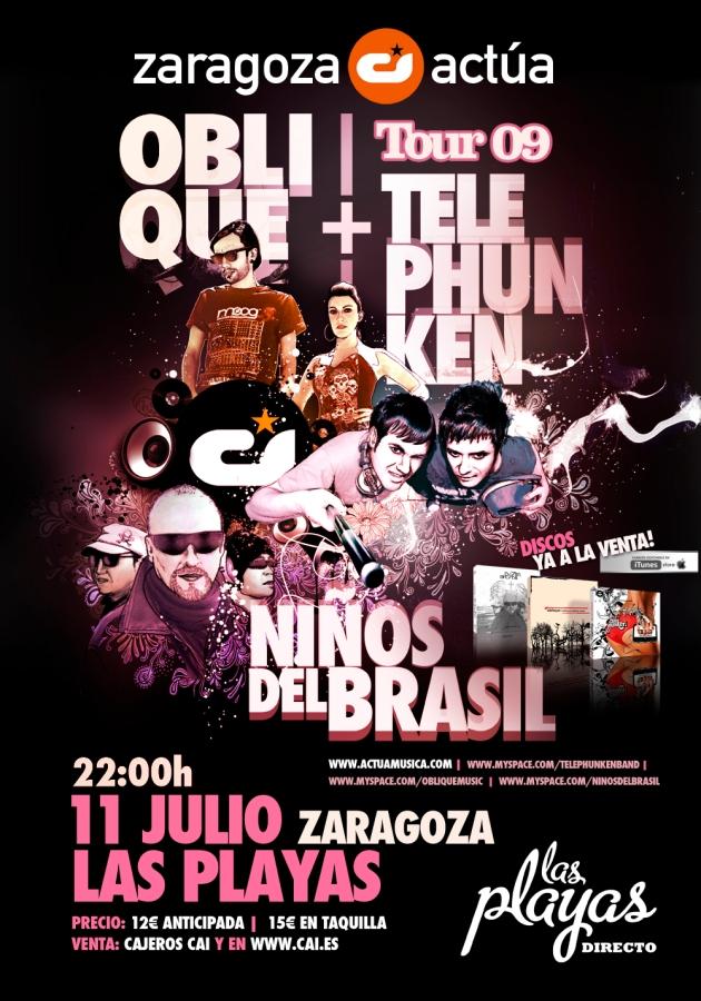 Niños Del Brasil + Oblique + Telephunken en concierto en las playas de Zaragoza