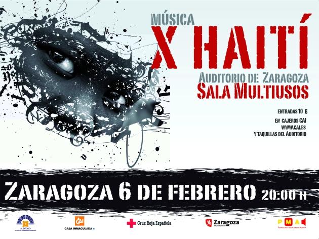 Cartel del conceirto benéfico X Haití en Zaragoza