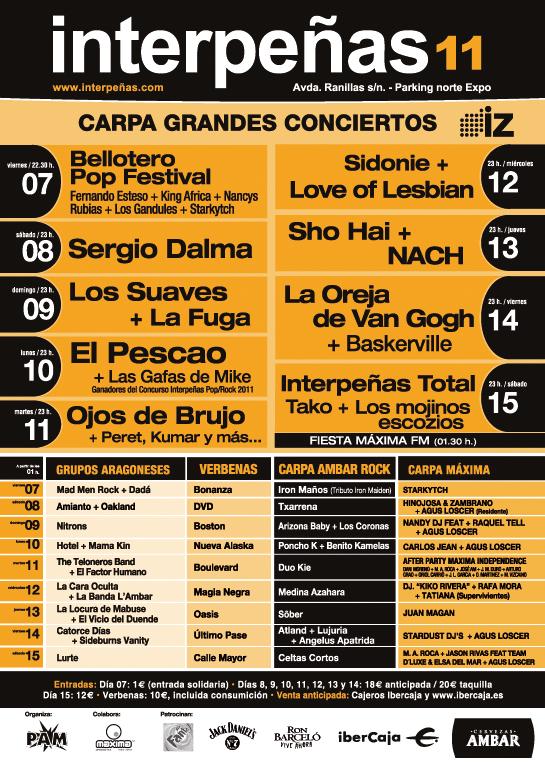 Conciertos en las carpas de Interpeñas Zaragoza Pilar 2011